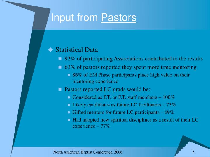 Input from pastors