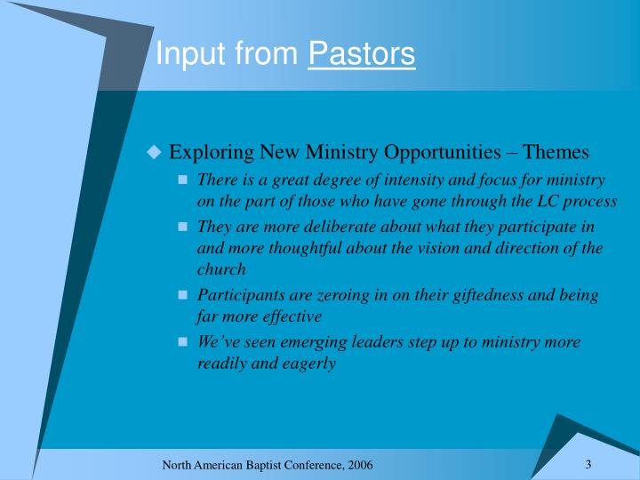 Input from pastors1