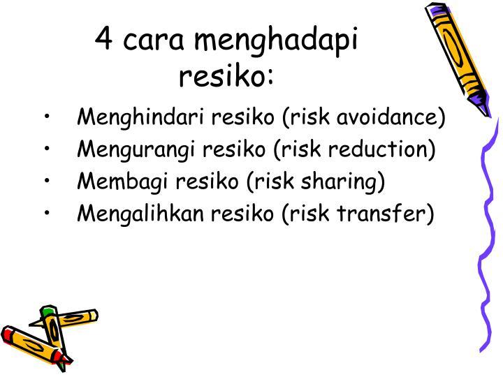 4 cara menghadapi resiko: