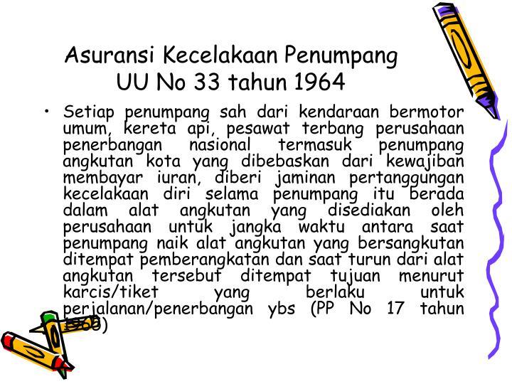 Asuransi Kecelakaan Penumpang UU No 33 tahun 1964