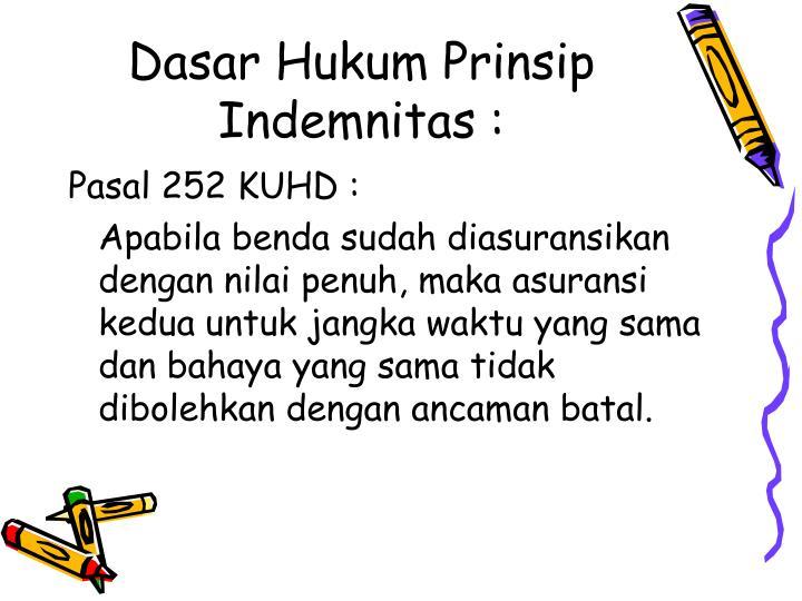 Dasar Hukum Prinsip Indemnitas :