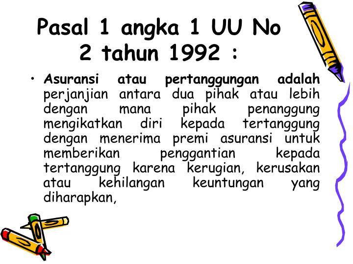 Pasal 1 angka 1 UU No 2 tahun 1992 :
