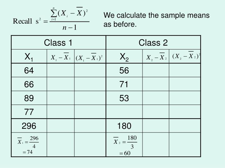 We calculate the sample means as before.
