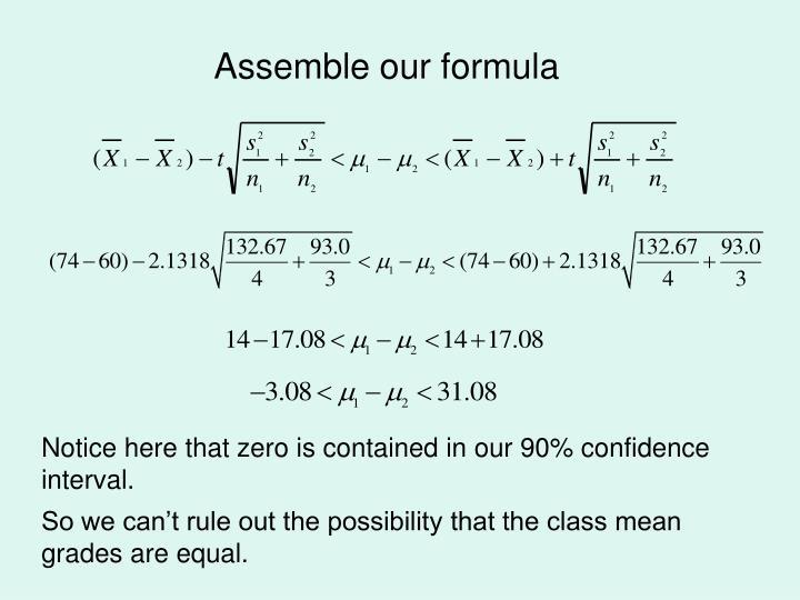 Assemble our formula