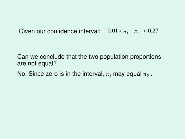 Given our confidence interval: