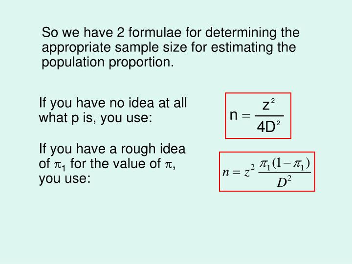 So we have 2 formulae for determining the appropriate sample size for estimating the population proportion.