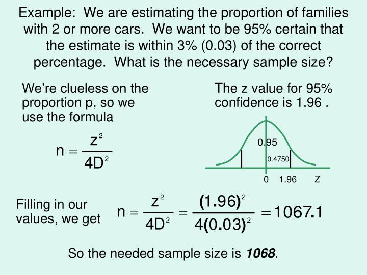 Example:  We are estimating the proportion of families with 2 or more cars.  We want to be 95% certain that the estimate is within 3% (0.03) of the correct percentage.  What is the necessary sample size?