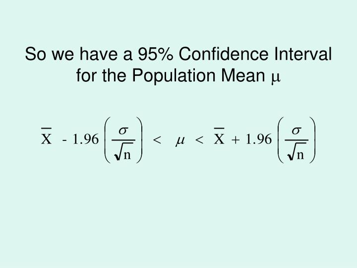 So we have a 95% Confidence Interval for the Population Mean