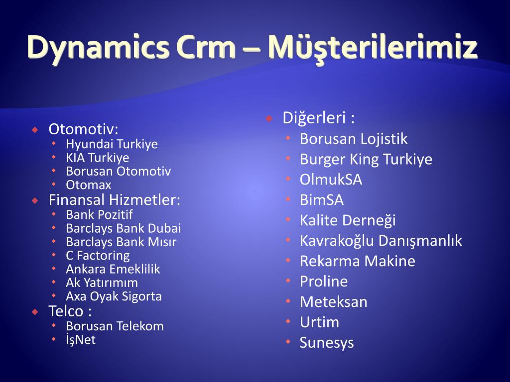 Dynamics Crm – Müşterilerimiz