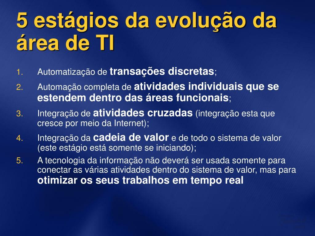 5 estágios da evolução da área de TI
