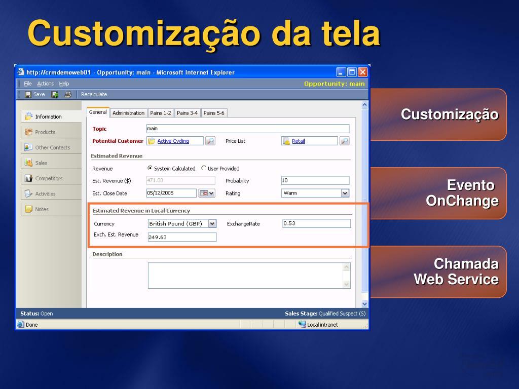 Customização da tela