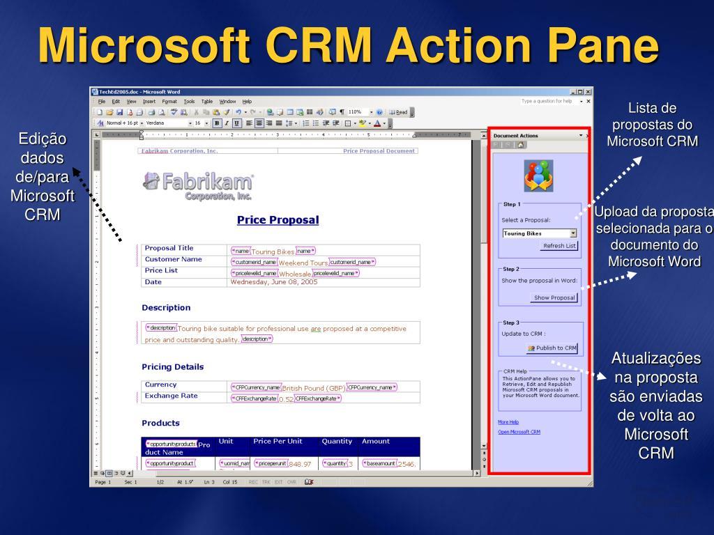 Microsoft CRM Action Pane