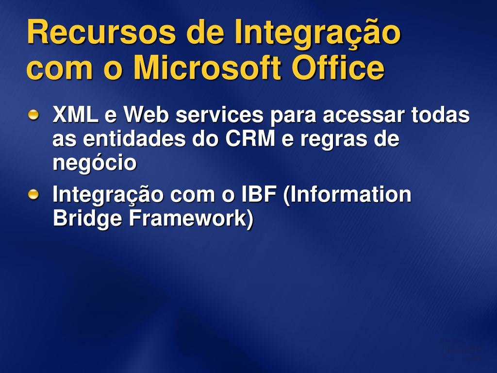 Recursos de Integração com o Microsoft Office