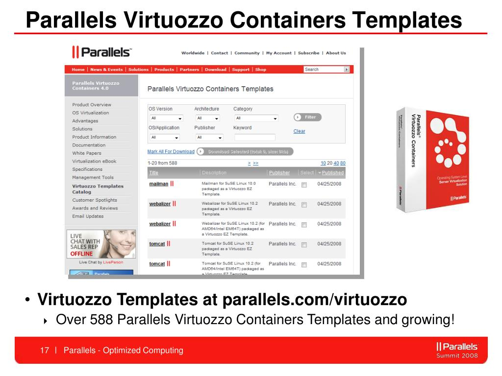Parallels Virtuozzo Containers Templates