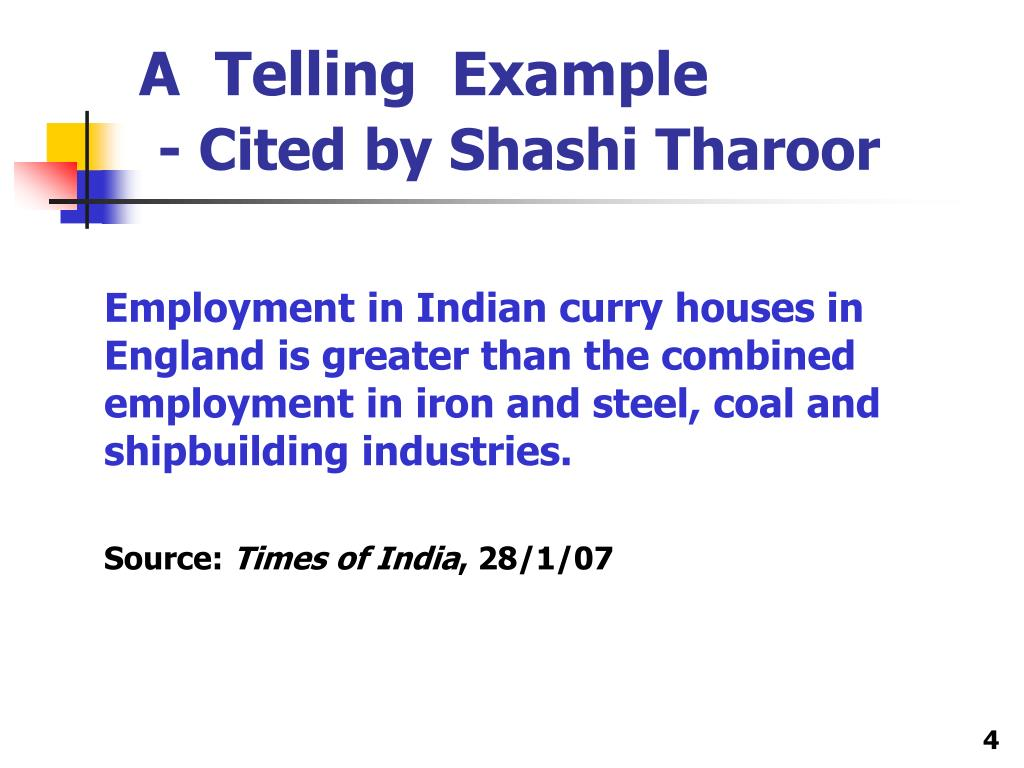 Employment in Indian curry houses in England is greater than the combined employment in iron and steel, coal and shipbuilding industries.