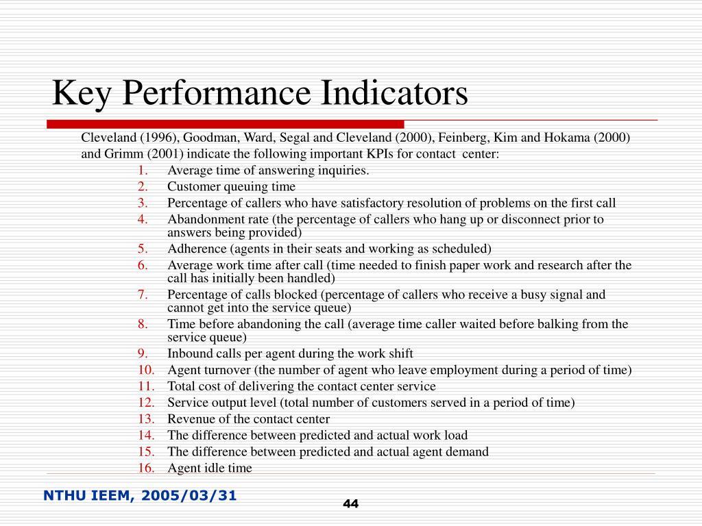 Key Performance Indicators