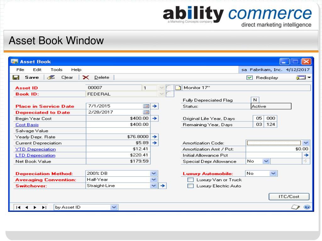 Asset Book Window