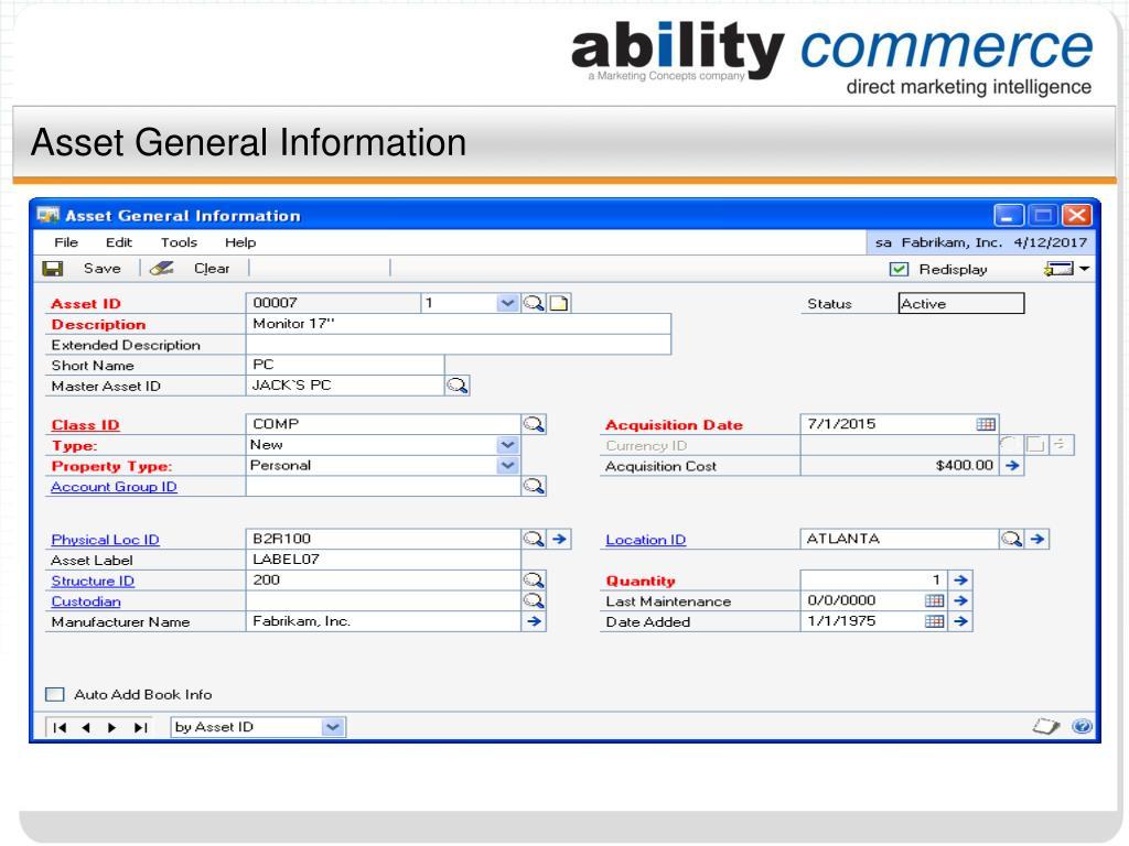 Asset General Information