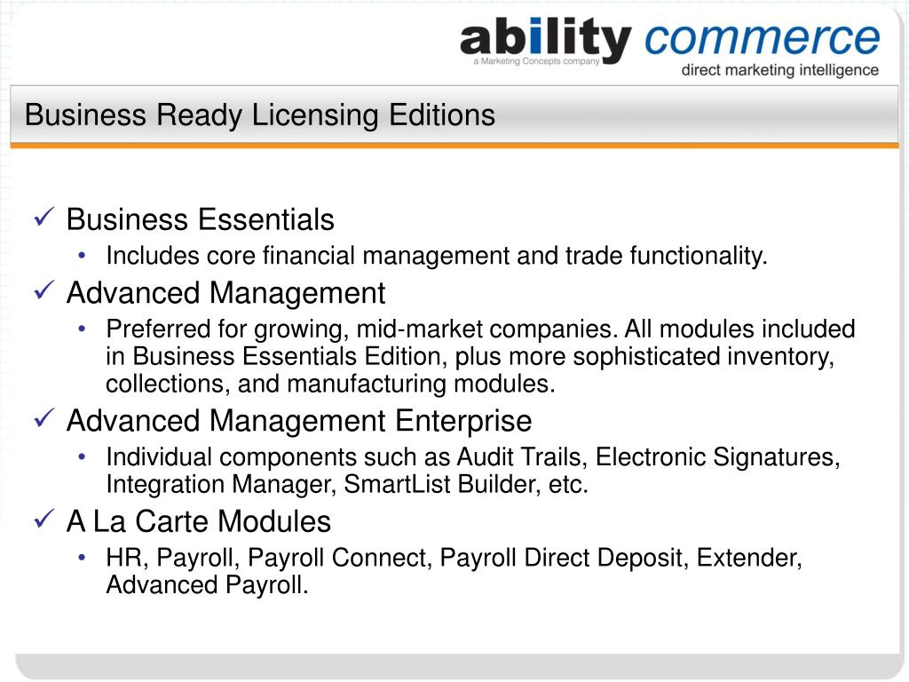 Business Ready Licensing Editions