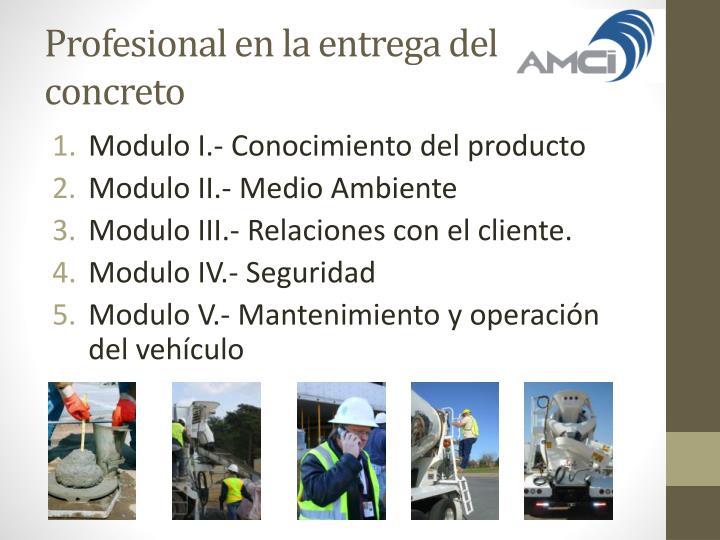 Profesional en la entrega del concreto
