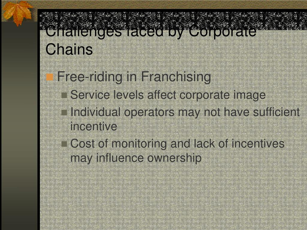 Challenges faced by Corporate Chains