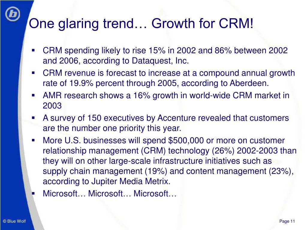 One glaring trend… Growth for CRM!