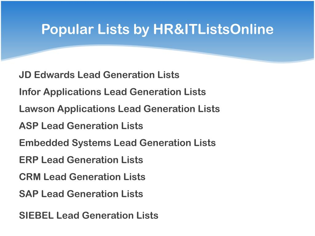 Popular Lists by HR&ITListsOnline