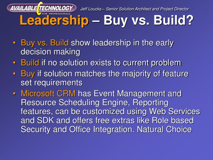 Leadership buy vs build