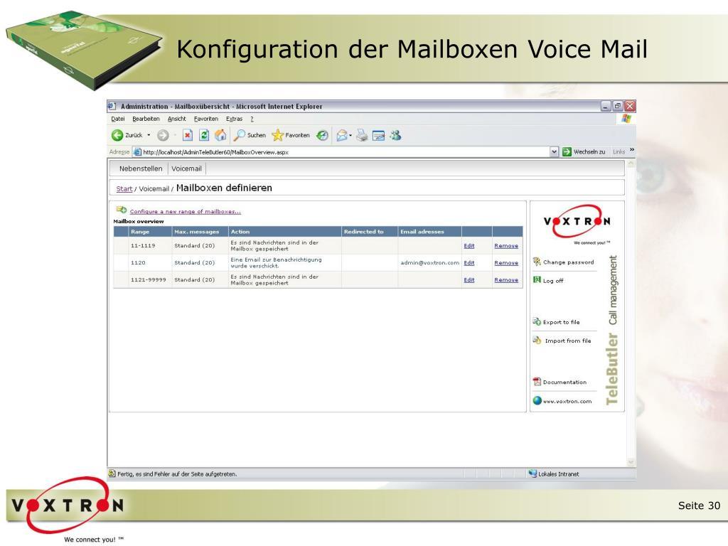 Konfiguration der Mailboxen Voice Mail