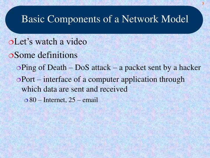 Basic components of a network model