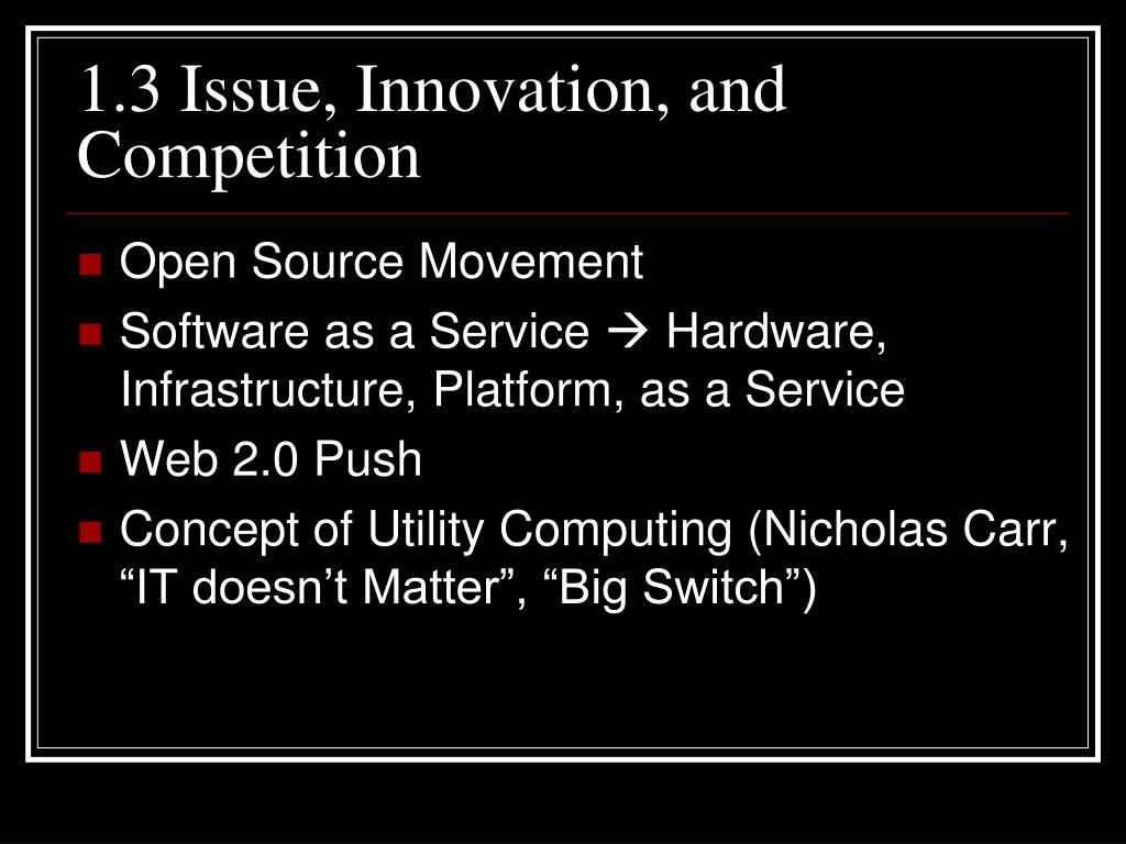1.3 Issue, Innovation, and Competition