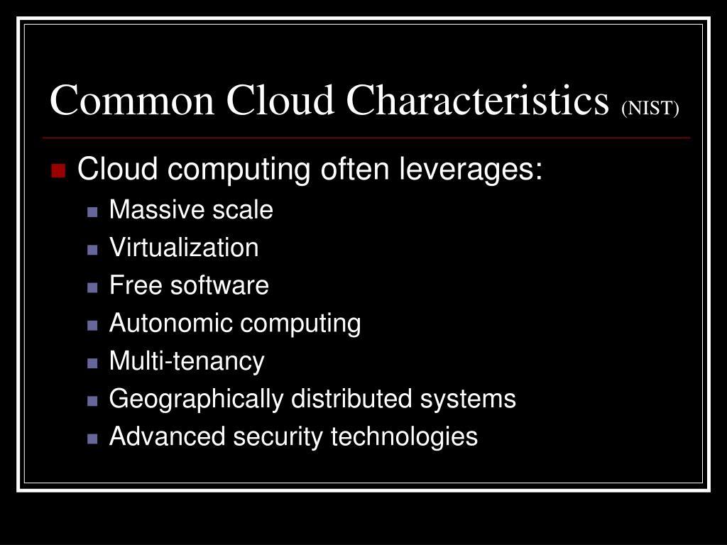Common Cloud Characteristics