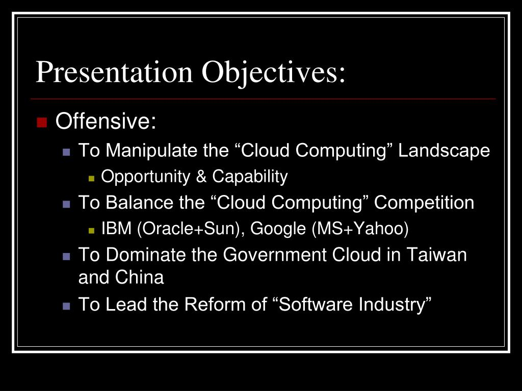 Presentation Objectives: