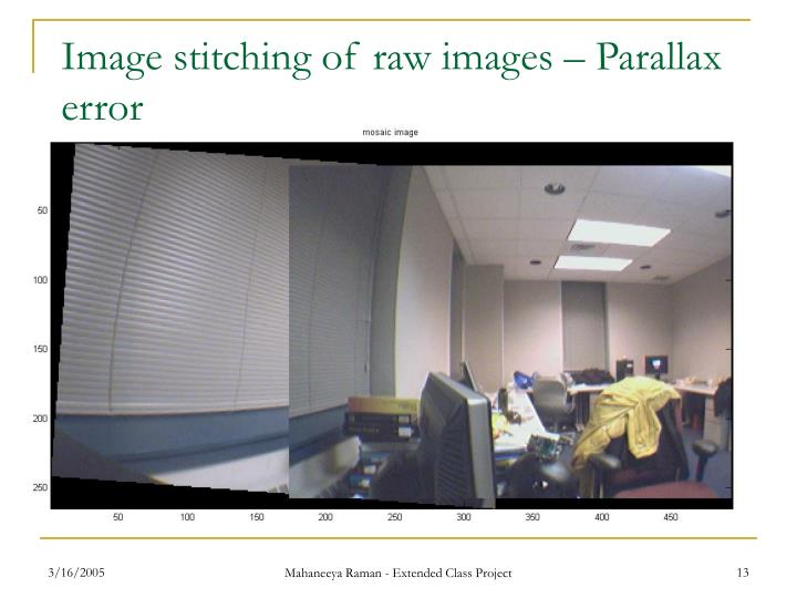 Image stitching of raw images – Parallax error