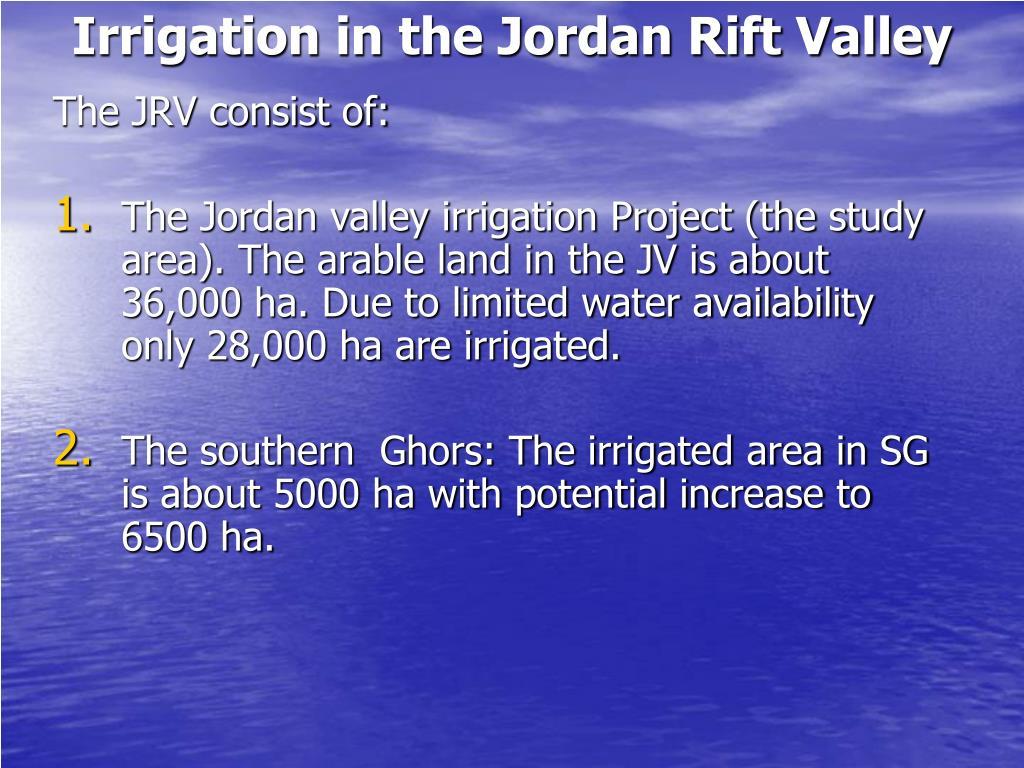 Irrigation in the Jordan Rift Valley