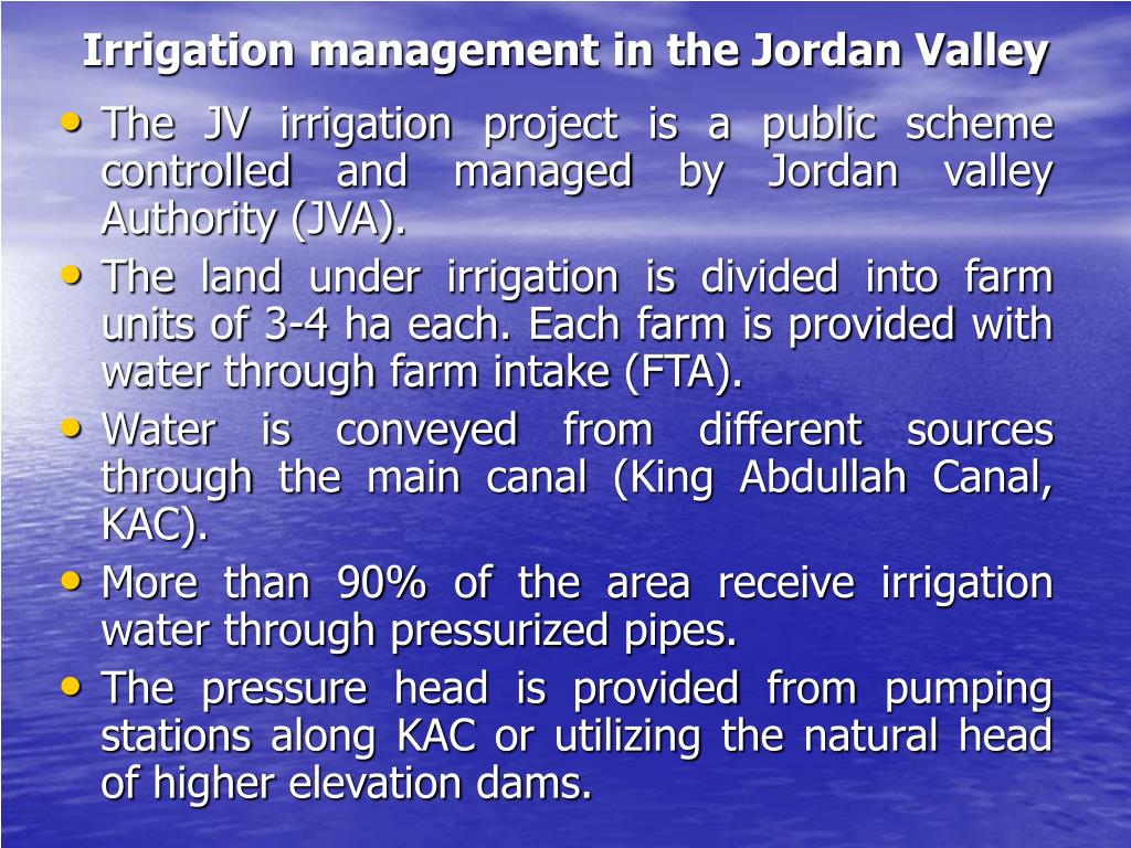 Irrigation management in the Jordan Valley
