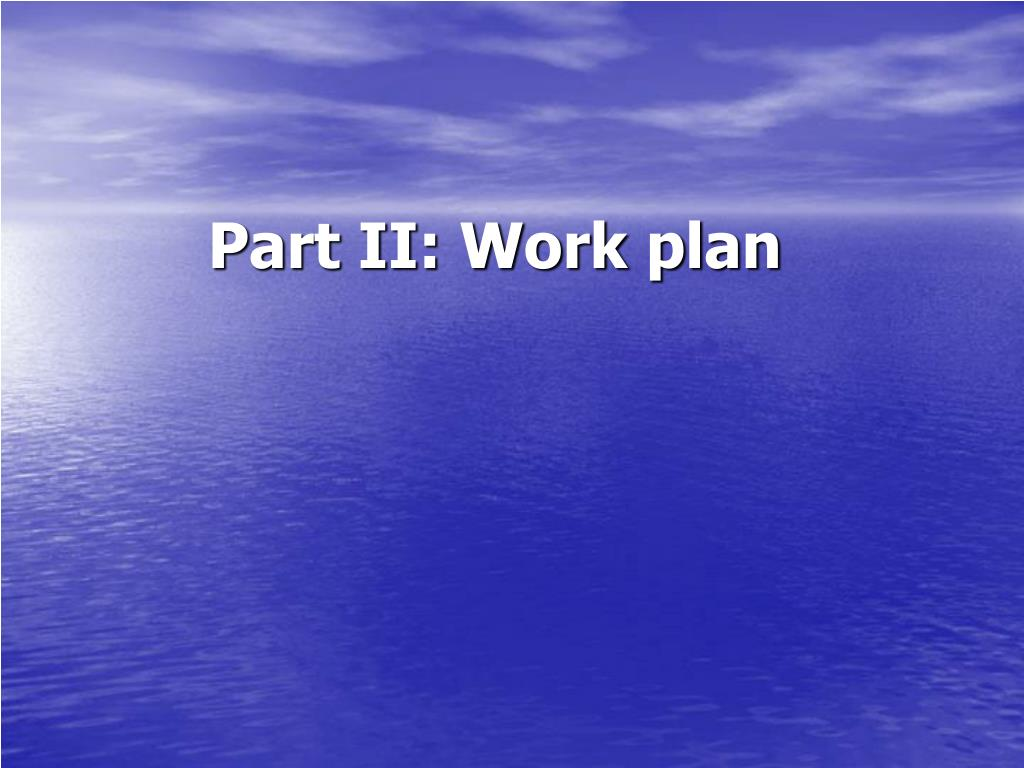 Part II: Work plan