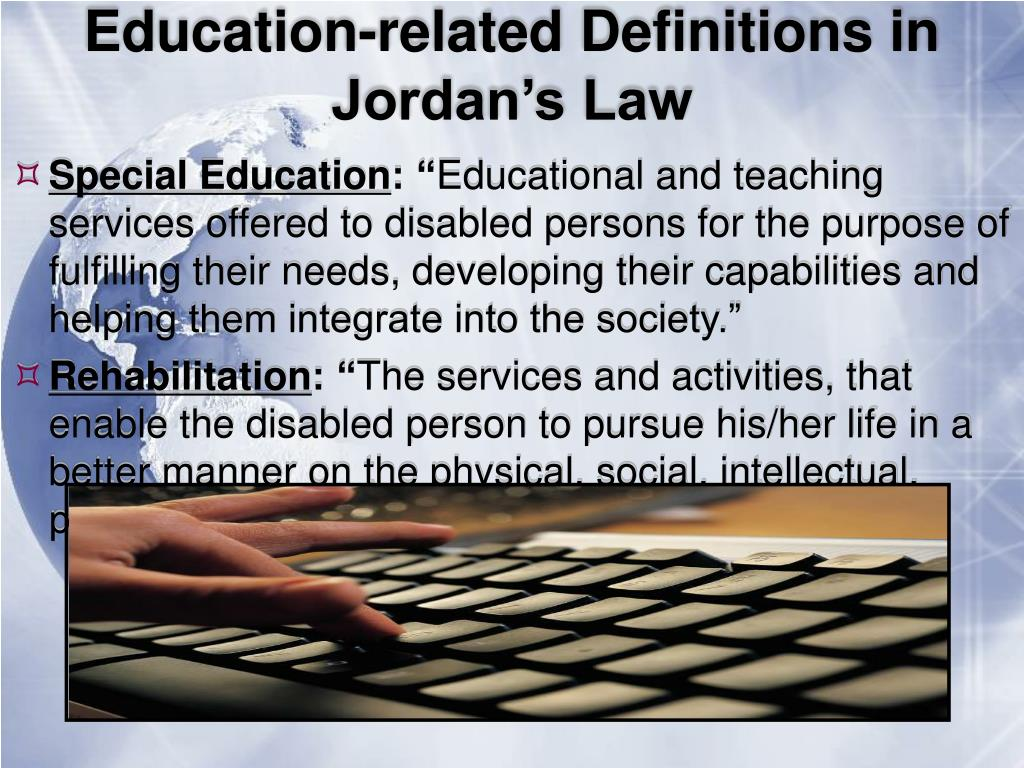 Education-related Definitions in Jordan's Law