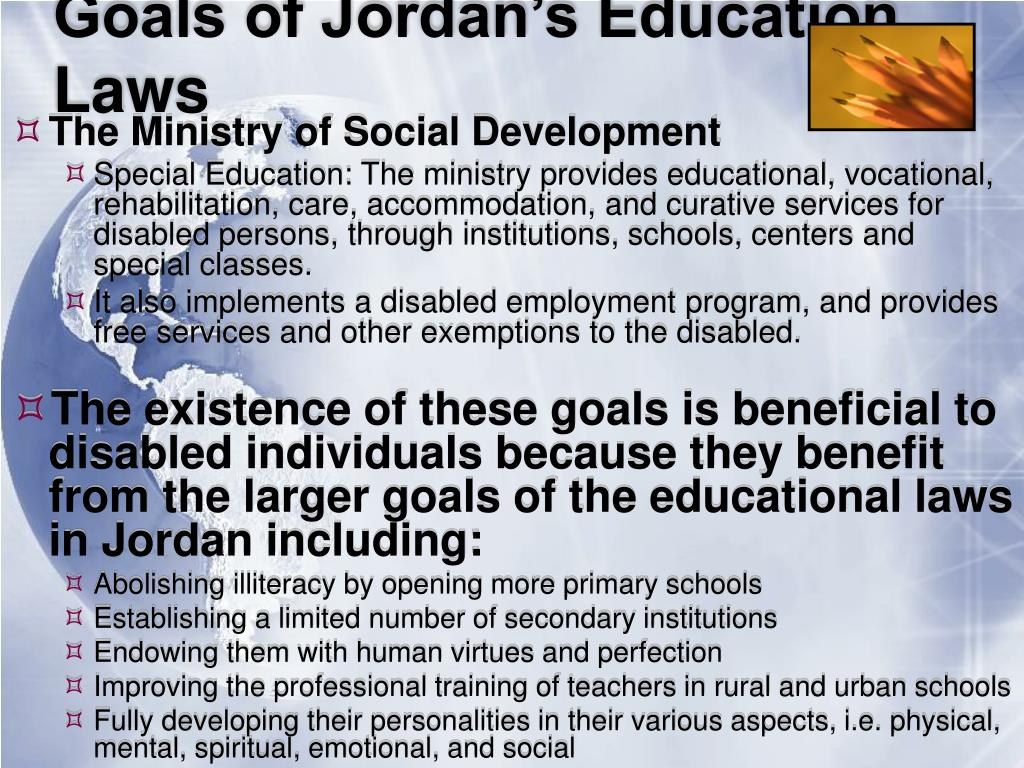 Goals of Jordan's Education Laws