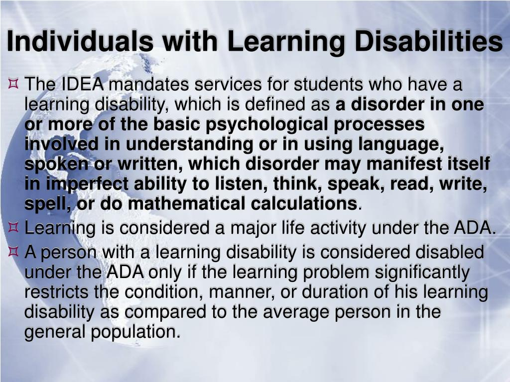 Individuals with Learning Disabilities