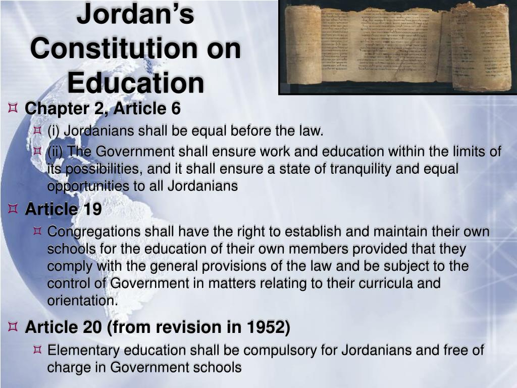 Jordan's Constitution on Education