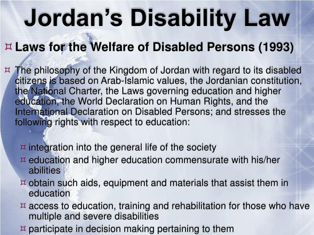 Jordan's Disability Law
