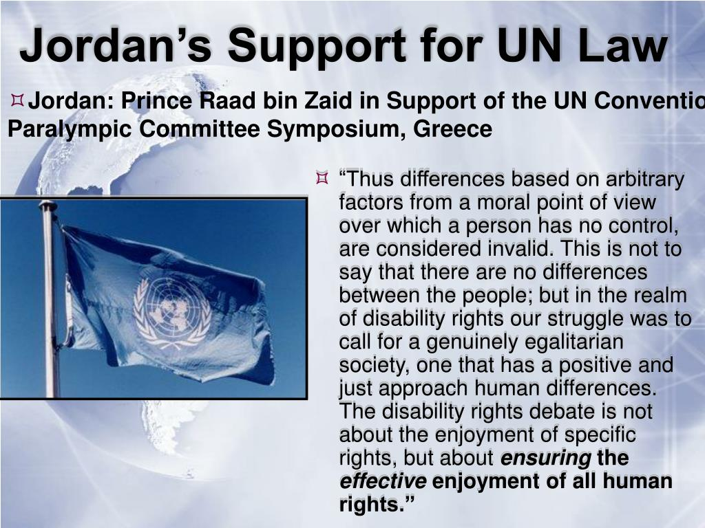 Jordan's Support for UN Law