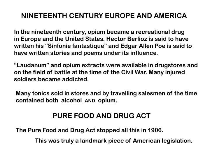 NINETEENTH CENTURY EUROPE AND AMERICA
