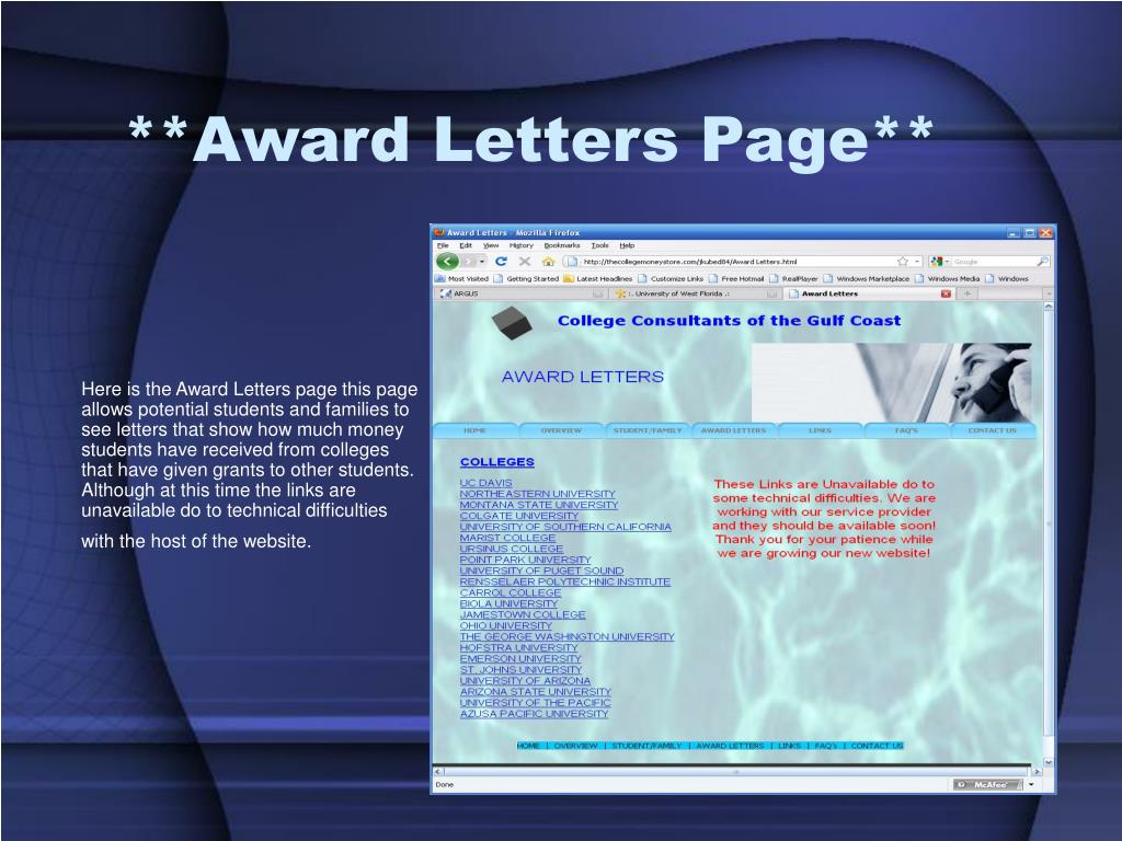 **Award Letters Page**