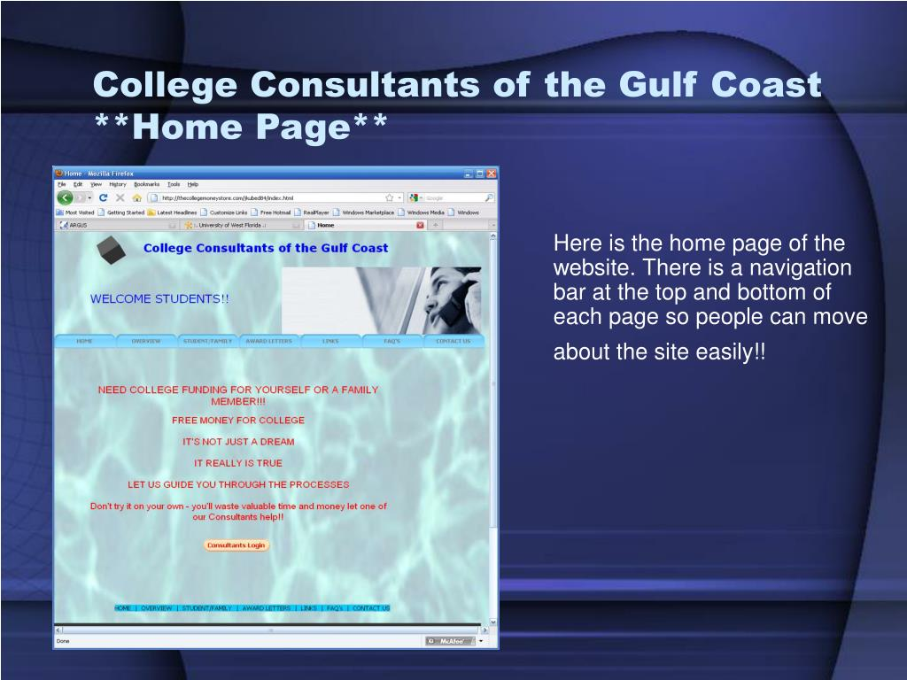 College Consultants of the Gulf Coast **Home Page**
