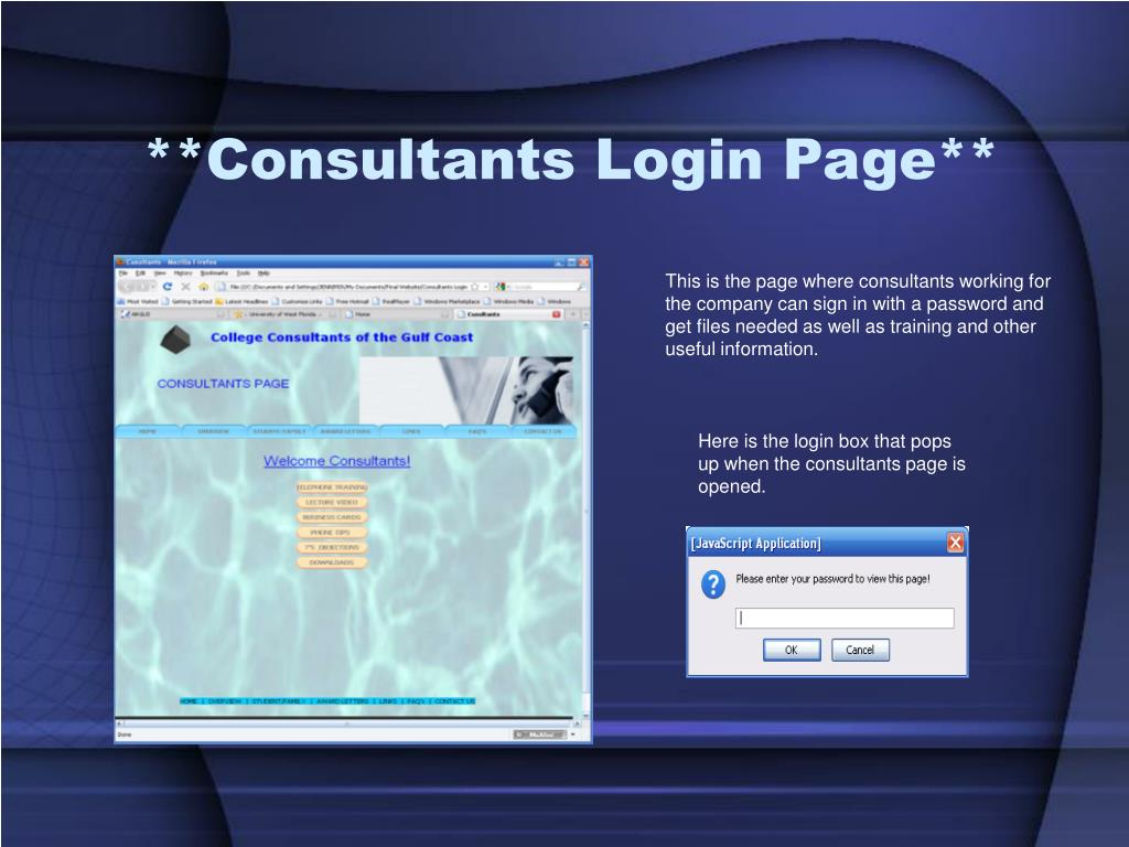 **Consultants Login Page**