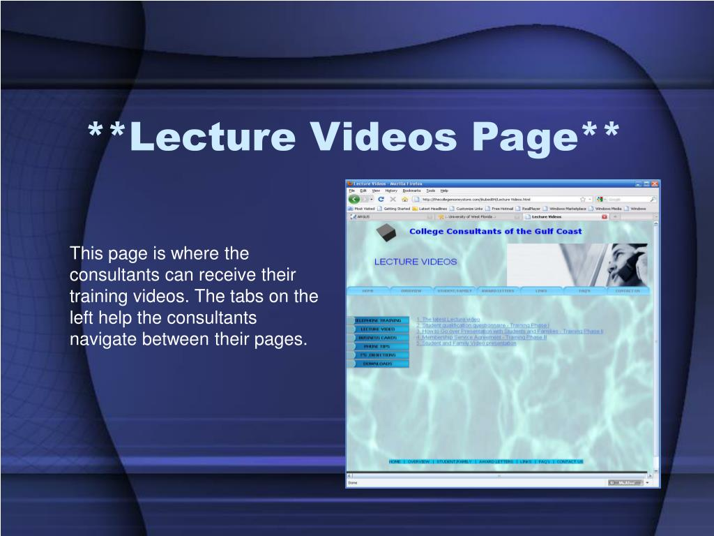 **Lecture Videos Page**