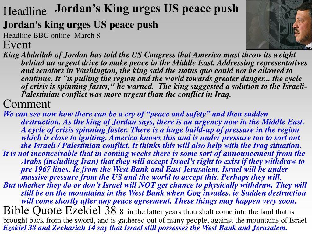 Jordan's King urges US peace push