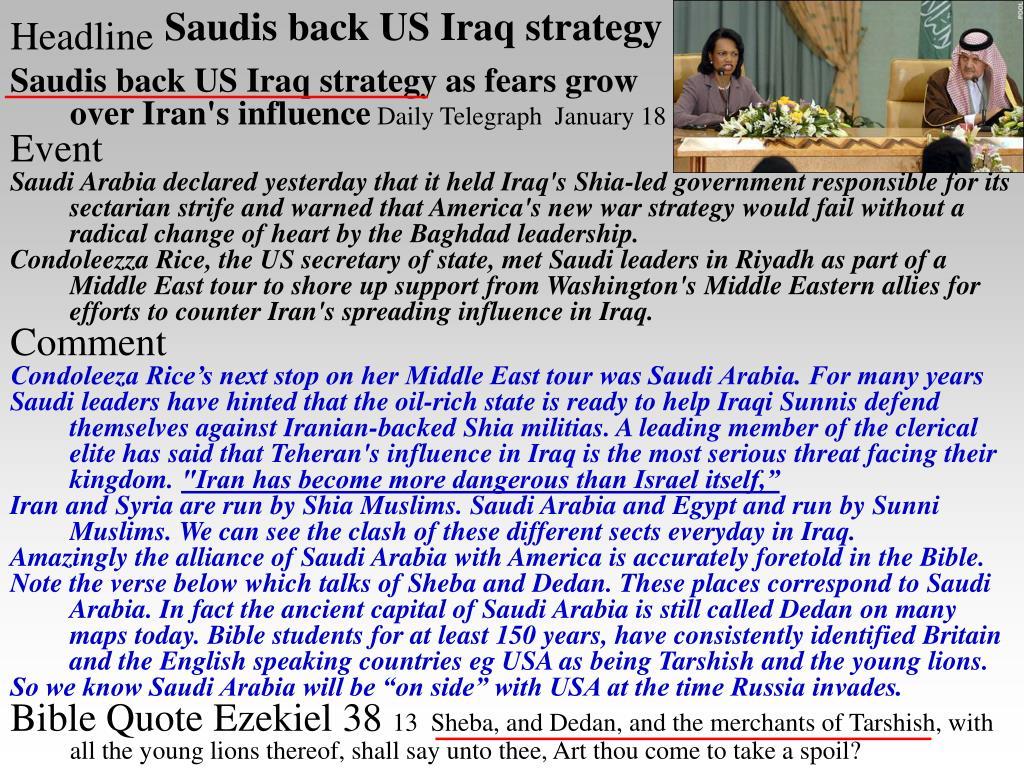 Saudis back US Iraq strategy